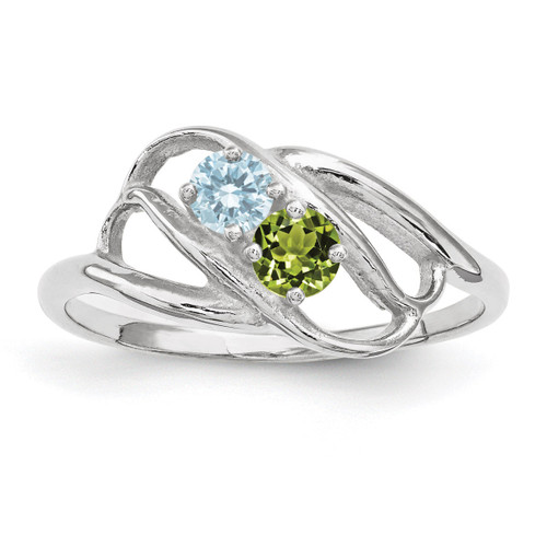 2 Birthstones Mothers Ring 14k White Gold Polished XMR1/2W