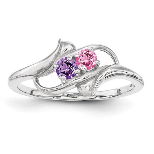 2 Birthstones Mother's Ring Sterling Silver XMR14/2SS