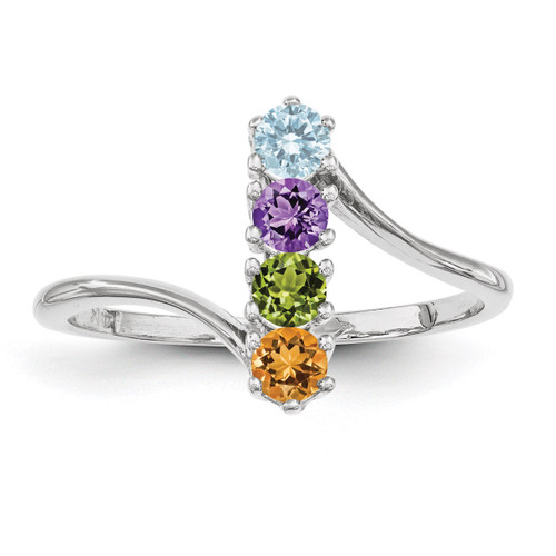 4 Birthstones Mothers Ring 14k White Gold Polished XMR15/4W