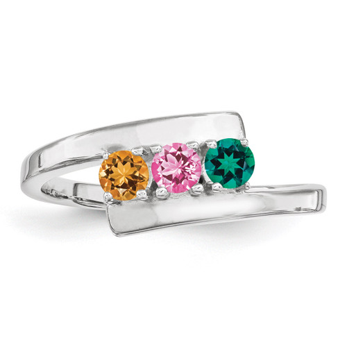 3 Birthstones Mothers Ring 14k White Gold Polished XMR16/3W