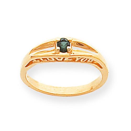 1 Birthstone Antiqued Mothers Ring 14k Gold Polished XMR22/1