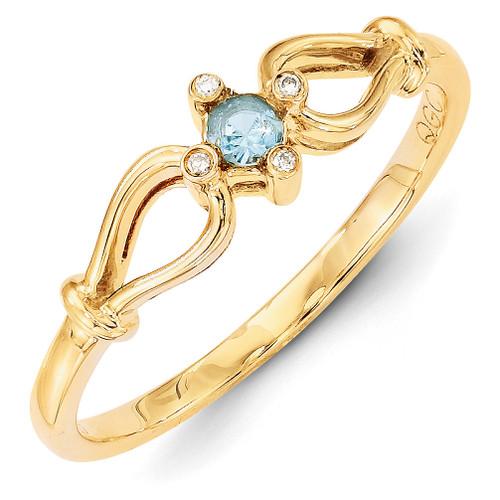 1 Birthstone Family Jewelry Diamond Semi-Set Ring 14k Yellow Gold XMR26/1