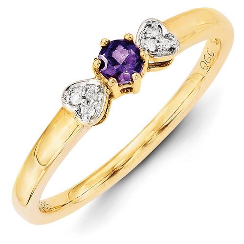 1 Birthstone Family Jewelry Diamond Semi-Set Ring 14k Yellow Gold XMR27/1