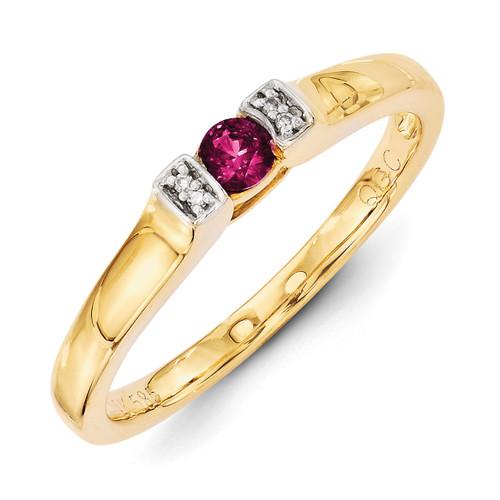 1 Birthstone Family Jewelry Diamond Semi-Set Ring 14k Yellow Gold XMR35/1