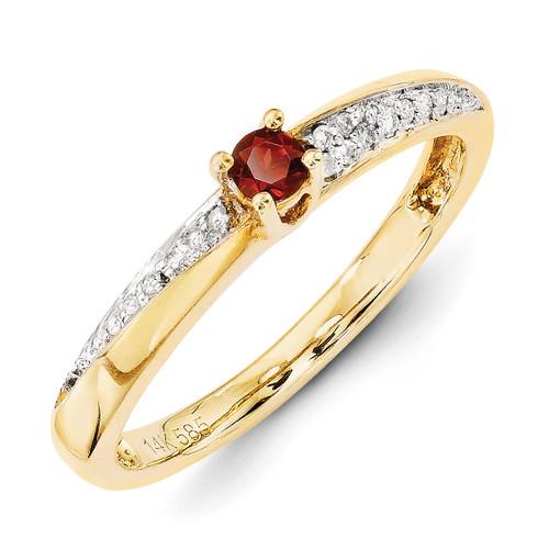 1 Birthstone Family Jewelry Diamond Semi-Set Ring 14k Yellow Gold XMR36/1