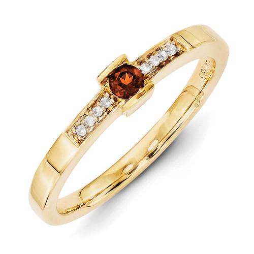 1 Birthstone Family Jewelry Diamond Semi-Set Ring 14k Yellow Gold XMR42/1