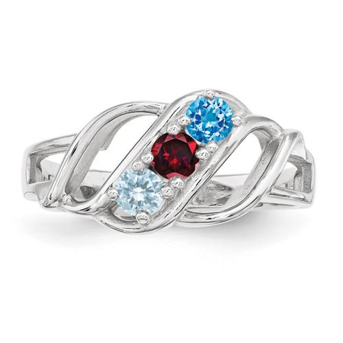 3 Birthstones Mother's Ring Sterling Silver XMR5/3SS