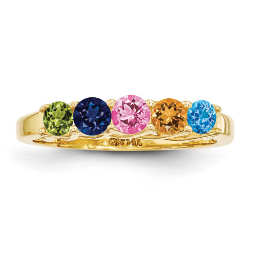 5 Birthstones Family Jewelry Ring 14k Yellow Gold XMR83/5