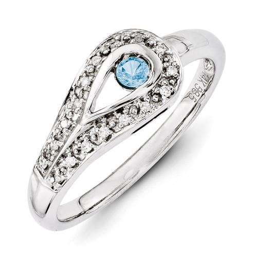 1 Birthstone Family Jewelry Diamond Semi-Set Ring 14k White Gold XMRW29/1