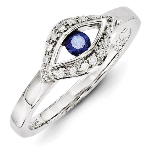 1 Birthstone Family Jewelry Diamond Semi-Set Ring 14k White Gold XMRW32/1