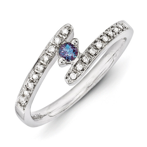 1 Birthstone Family Jewelry Diamond Semi-Set Ring 14k White Gold XMRW33/1