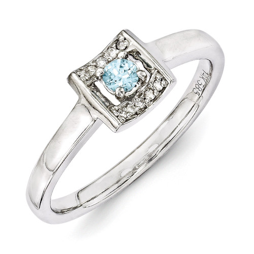 1 Birthstone Family Jewelry Diamond Semi-Set Ring 14k White Gold XMRW34/1
