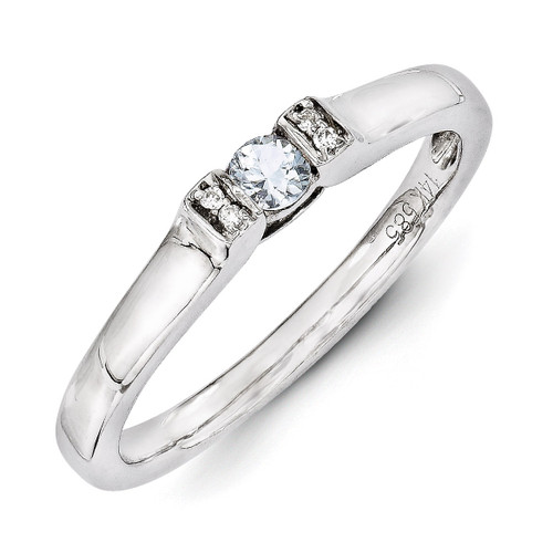 1 Birthstone Family Jewelry Diamond Semi-Set Ring 14k White Gold XMRW35/1