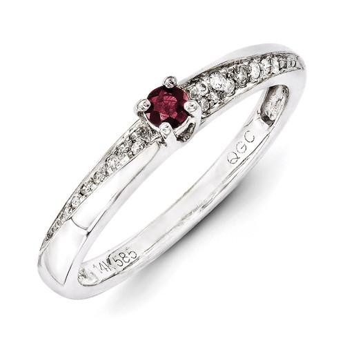 1 Birthstone Family Jewelry Diamond Semi-Set Ring 14k White Gold XMRW36/1