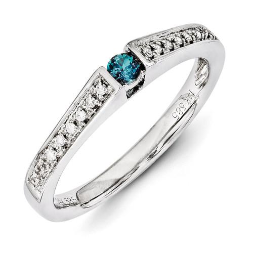 1 Birthstone Family Jewelry Diamond Semi-Set Ring 14k White Gold XMRW37/1