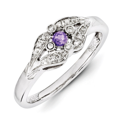 1 Birthstone Family Jewelry Diamond Semi-Set Ring 14k White Gold XMRW38/1