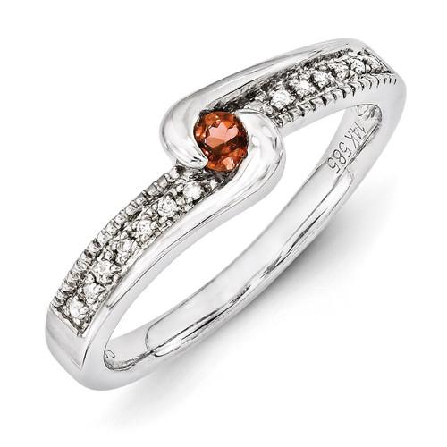 1 Birthstone Family Jewelry Diamond Semi-Set Ring 14k White Gold XMRW39/1