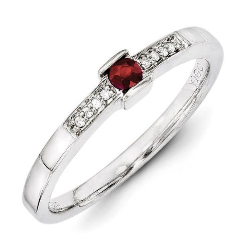 1 Birthstone Family Jewelry Diamond Semi-Set Ring 14k White Gold XMRW42/1