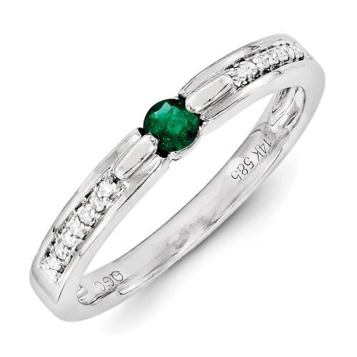 1 Birthstone Family Jewelry Diamond Semi-Set Ring 14k White Gold XMRW43/1