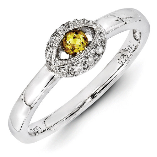 1 Birthstone Family Jewelry Diamond Semi-Set Ring 14k White Gold XMRW47/1