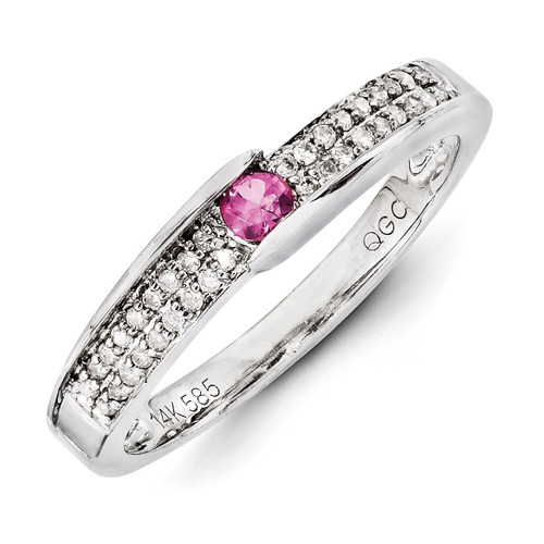 1 Birthstone Family Jewelry Diamond Semi-Set Ring 14k White Gold XMRW49/1