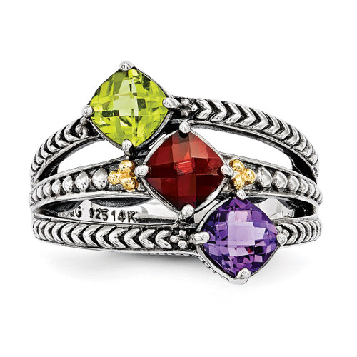 3 Birthstones & 14k Three-stone Mother's Ring Sterling Silver QMR11/3-10