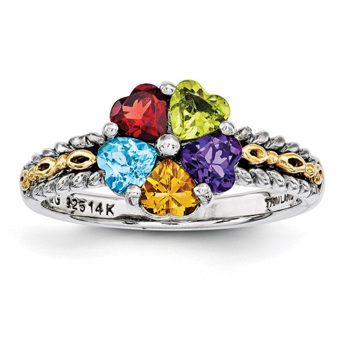 5 Birthstones & 14k Five-stone Mother's Ring Sterling Silver QMR16/5-10