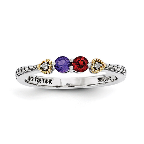 2 Birthstones & 14k Two-stone and Diamond Mother's Semi-Mount Ring Sterling Silver QMR18/2-10