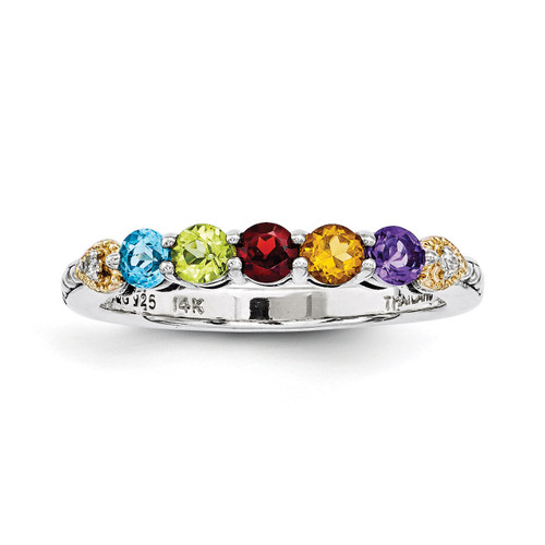 5 Birthstones & 14k Five-stone and Diamond Mother's Semi-Mount Ring Sterling Silver QMR18/5-10