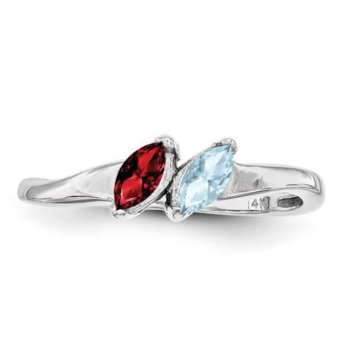 2 Birthstones Mother's Ring Sterling Silver XMR62/2SS-10
