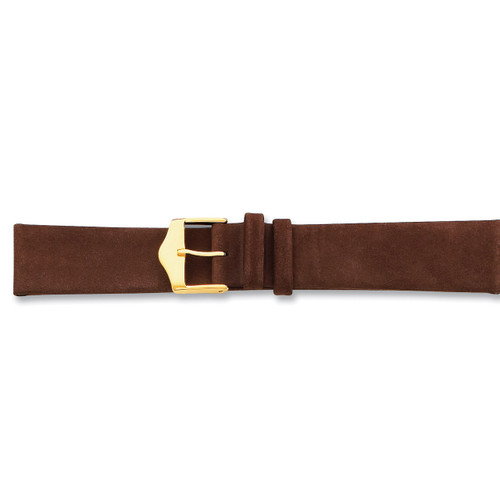 17mm Brown Suede Leather Buckle Watch Band 7.5 Inch Gold-tone BA119-17