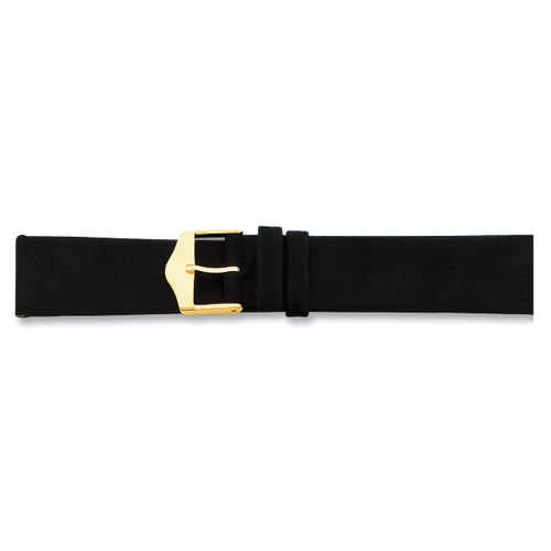 18mm Black Suede Leather Buckle Watch Band 7.5 Inch Gold-tone BA120-18