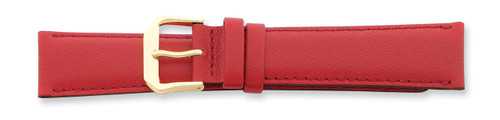 17mm Red Smooth Leather Buckle Watch Band 7.5 Inch Gold-tone BA125-17