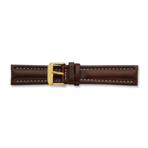 20mm Brown Oil Tanned Leather Buckle Watch Band 7.5 Inch Gold-tone BA193-20