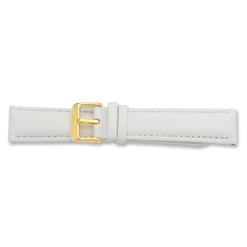 16mm White Glove Leather Buckle Watch Band 7.75 Inch Gold-tone BA197-16
