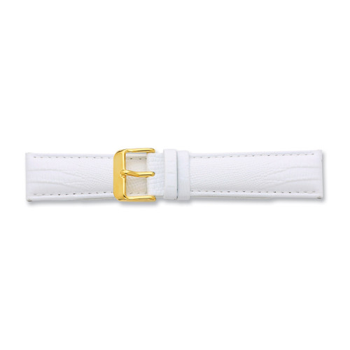 14mm White Teju Lizzard Grain Leather Buckle Watch Band 6.75 Inch Gold-tone BA203-14