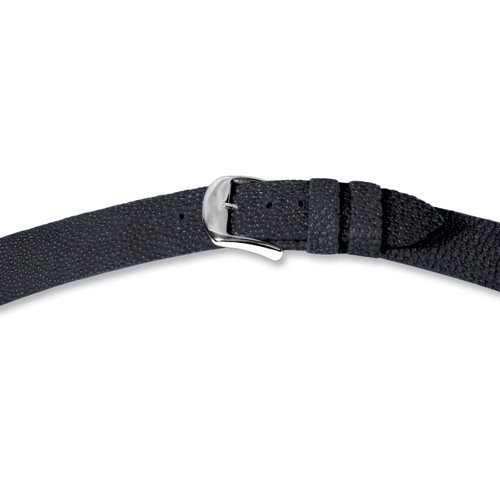 22mm Black Genuine Stingray Watch Band 7.4 Inch Silver-tone Buckle BA205-22