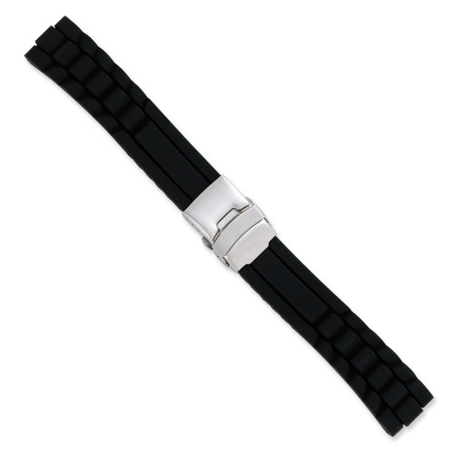 24mm Black Link Design Silicone Silver-tone Deploy Buckle Watch Band 7.5 Inch BA226-24
