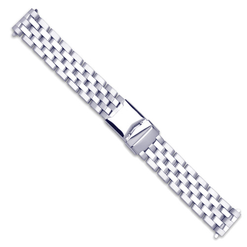 20-22mm Silver-tone Breitling Pilot-style with Deploy Solid Watch Band BA234