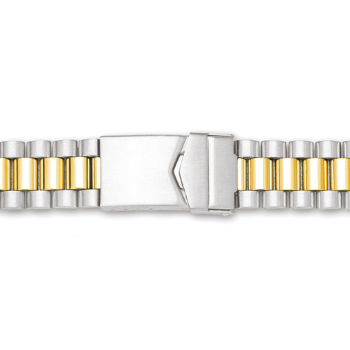 18-24mm Two-tone President-Style with Deploy Link Watch Band BA242