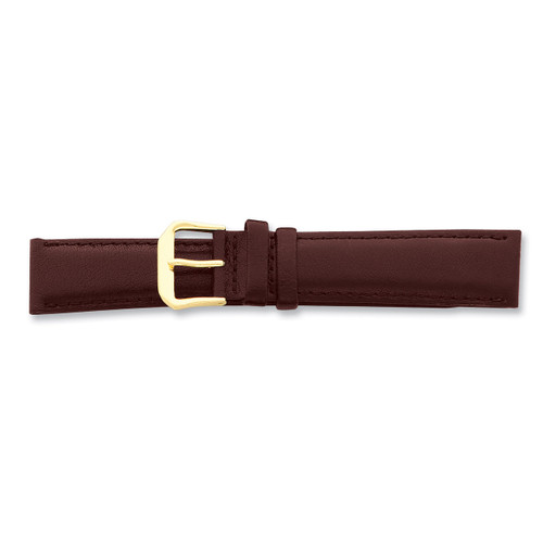 15mm Brown Smooth Leather Buckle Watch Band 7.5 Inch Gold-tone BA84-15