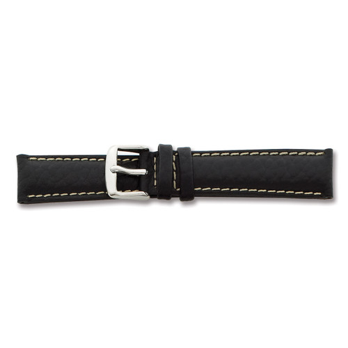 26mm Long Black Sport Leather Watch Band 8.5 Inch Silver-tone Buckle BA99L-26