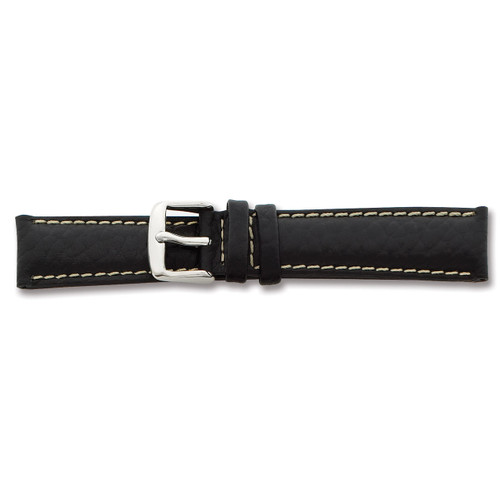 22mm Short Black Leather White Stitch Watch Band 6.75 Inch Silver-tone Buckle BA99S-22