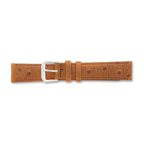 20mm Havana Ostrich Grain Leather Watch Band 7.5 Inch Silver-tone Buckle BAW12-20