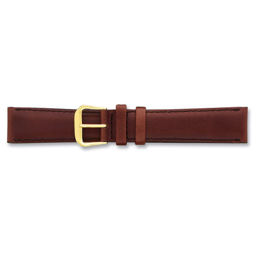 19mm Brown Italian Leather Watch Band 7.5 Inch Silver-tone Buckle BAW19-19