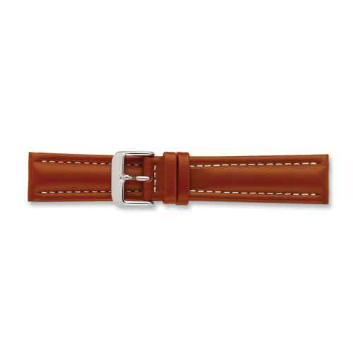 18mm Saddle Oil Tanned Leather Watch Band 7.5 Inch Silver-tone Buckle BAW194-18