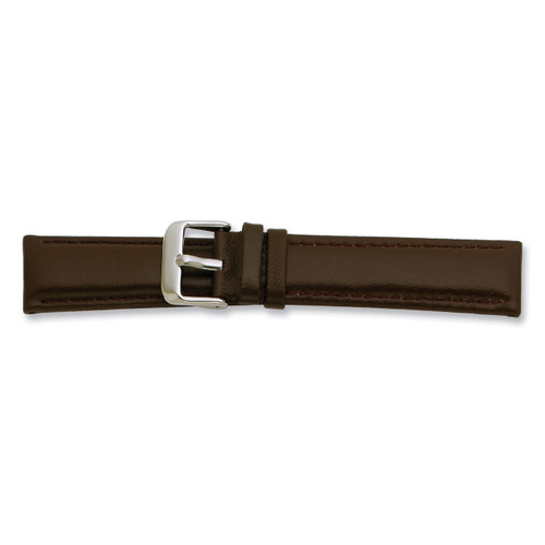 20mm Brown Glove Leather Watch Band 7.75 Inch Silver-tone Buckle BAW196-20