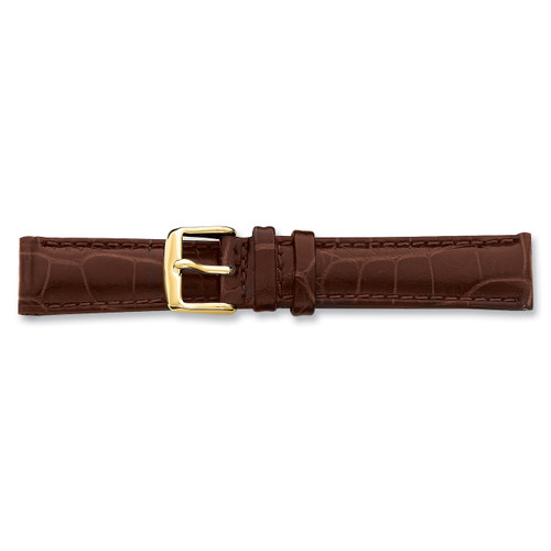 17mm Brown Crocodile Chrono Buckle Watch Band 7.5 Inch Gold-tone BAY102-17