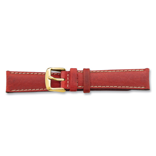 22mm Red Sport Leather White Stitch Buckle Watch Band 7.5 Inch Gold-tone BAY138-22
