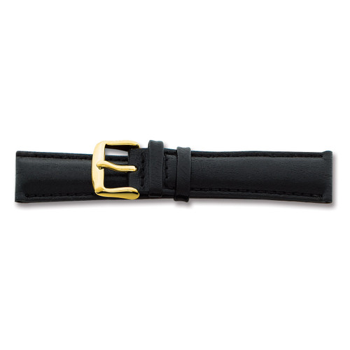 20mm Black Smooth Leather Chrono Buckle Watch Band 7.5 Inch Gold-tone BAY141-20